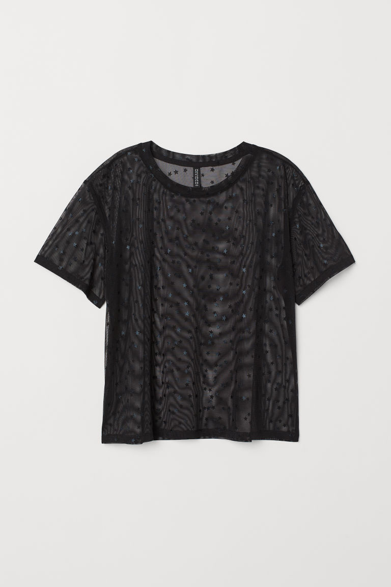 T-shirt in mesh - Nero/stelle -  | H&M IT