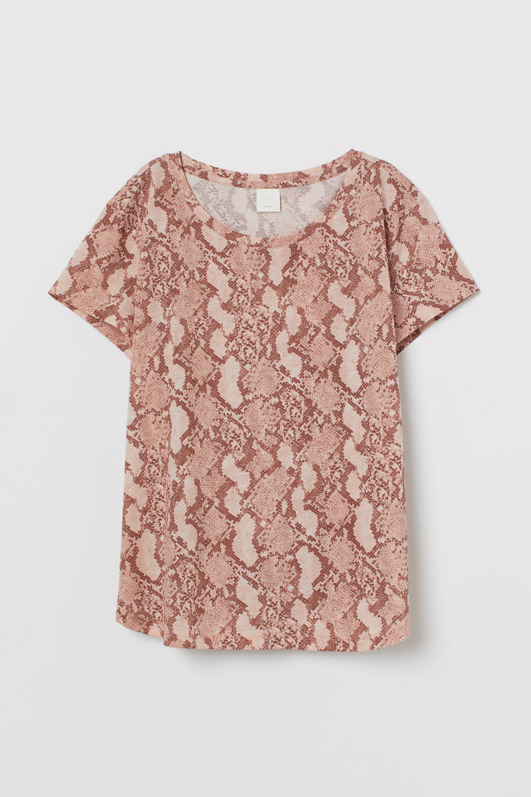 Top en jersey - Rose poudré/peau de serpent - FEMME | H&M BE