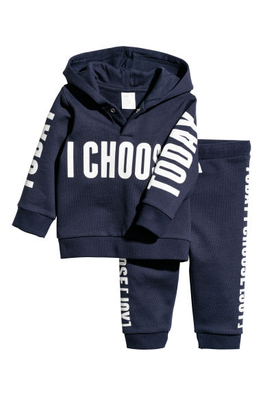Hooded top and trousers - Dark blue -  | H&M CN