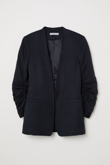 Linen-blend jacket - Black - Ladies | H&M