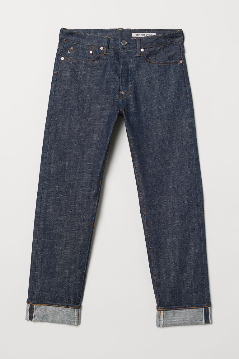 Straight Selvedge Jeans - 深牛仔蓝 - Men | H&M CN