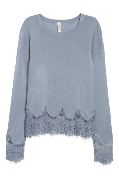 Jumper with lace details - Blue-grey - Ladies | H&M CN