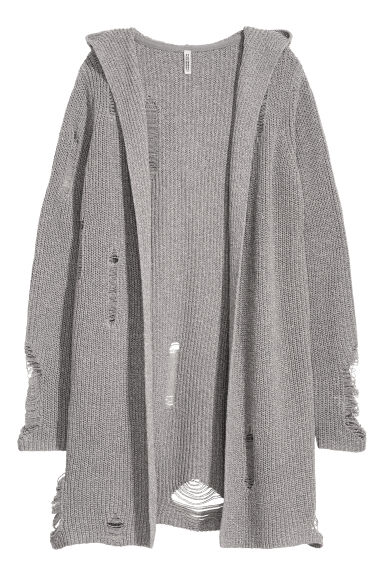 Trashed hooded cardigan - Grey - Ladies | H&M GB