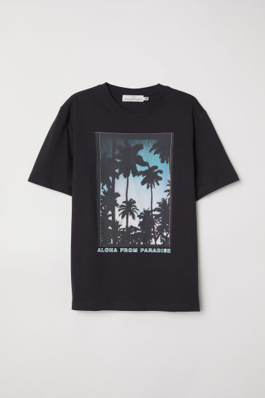 Printed T-shirt - Black/Palm trees - Men | H&M CN