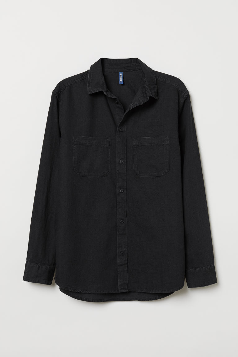 Denim shirt - Black - Men | H&M CN