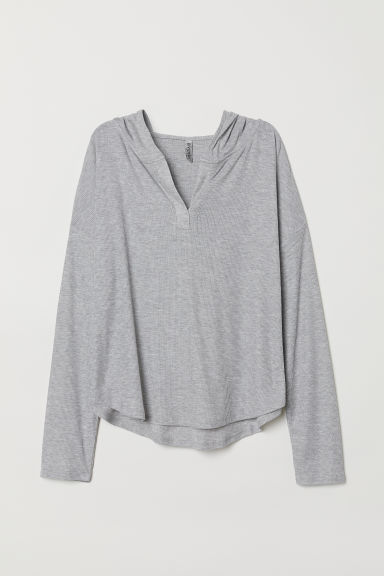 Top with a large hood - Light grey marl -  | H&M CN