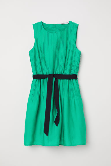 Pleated dress - Green -  | H&M