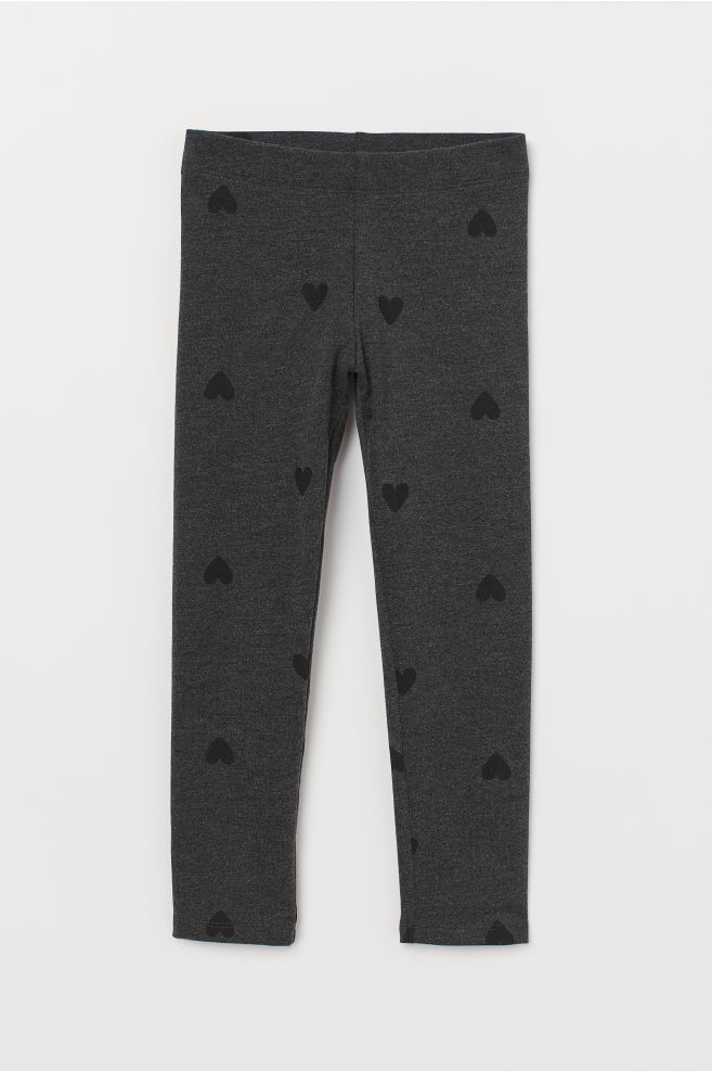 be2dff9e1 Thick Jersey Leggings - Dark gray melange hearts - Kids