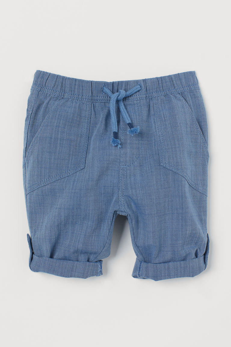 Roll-up cotton trousers - Blue - Kids | H&M IN