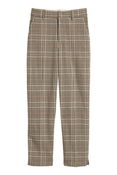 Suit trousers - Beige/Dogtooth-patterned - Ladies | H&M CN