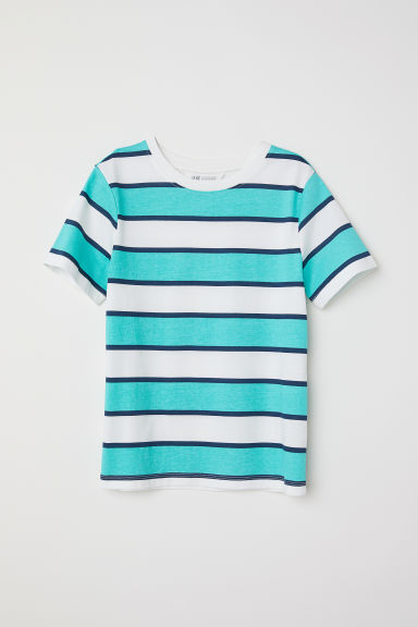 Printed T-shirt - Turquoise/Striped -  | H&M CN