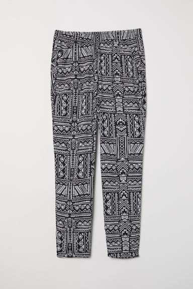 Elasticated viscose trousers - Black/White patterned -  | H&M