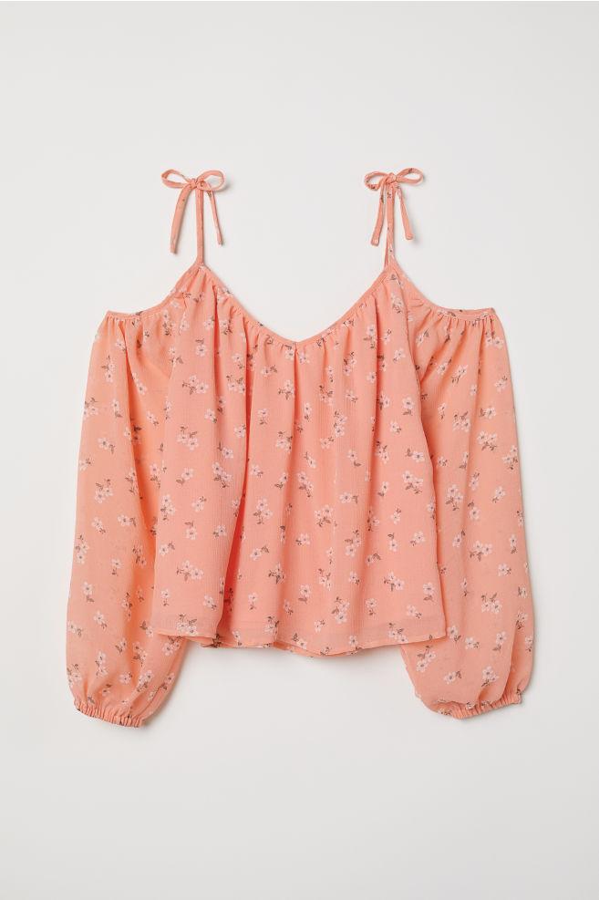 a5d2bf96107 Cold shoulder blouse - Apricot/Floral - | H&M ...