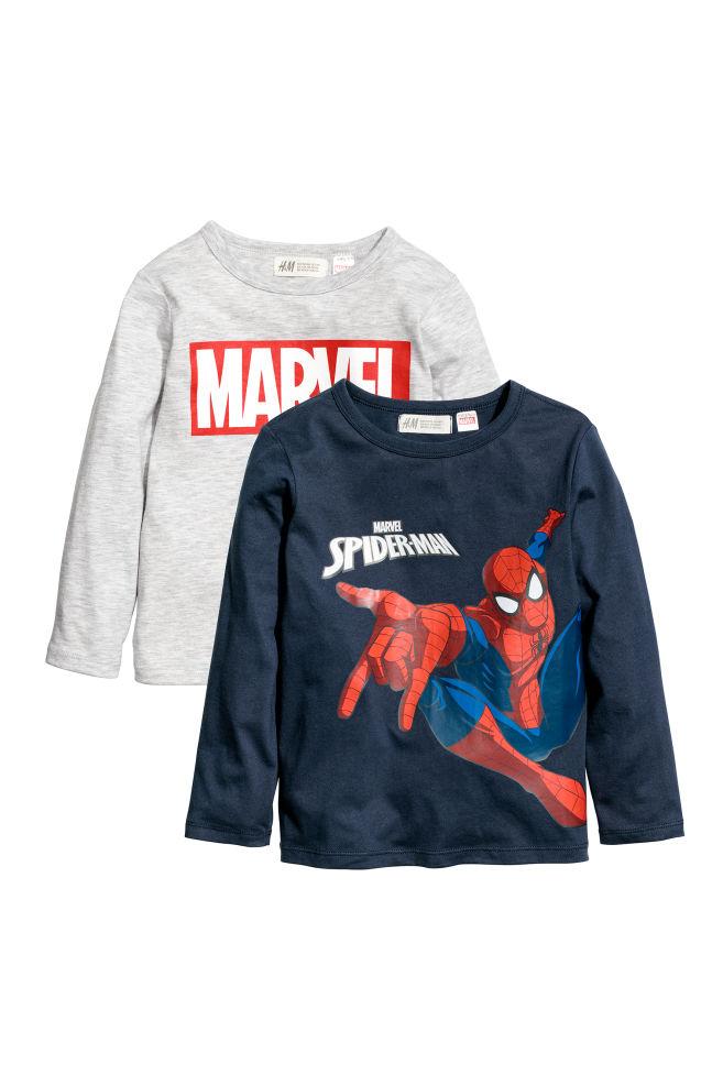 c3ce14113128a 2 футболки с длинным рукавом - Синий/Человек-паук - Дети | H&M RU