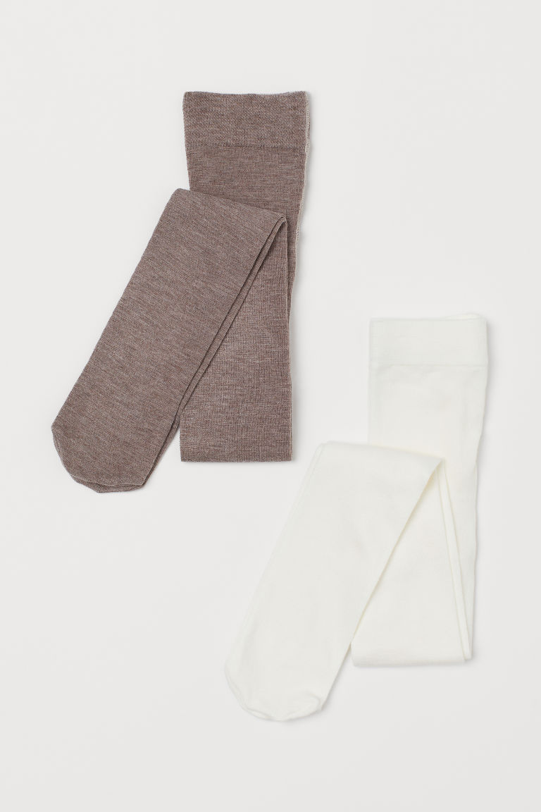 2-pack fine-knit tights - White/Light brown - Kids | H&M IE