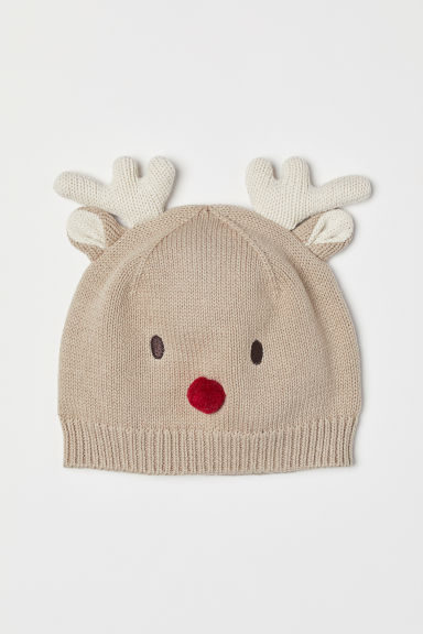 Hat with ears - Beige/Reindeer - Kids | H&M