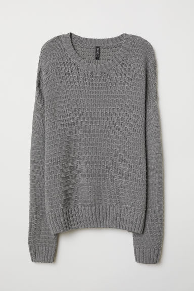 Textured-knit jumper - Dark grey - Ladies | H&M CN