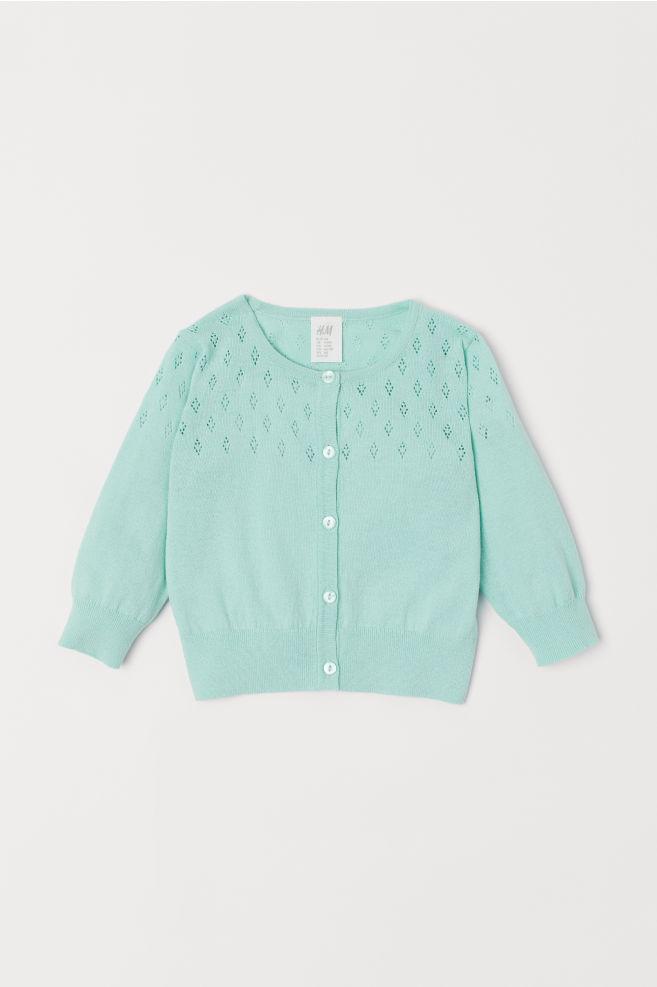 7f3fa72fb043 Pointelle Cardigan - Mint green - Kids