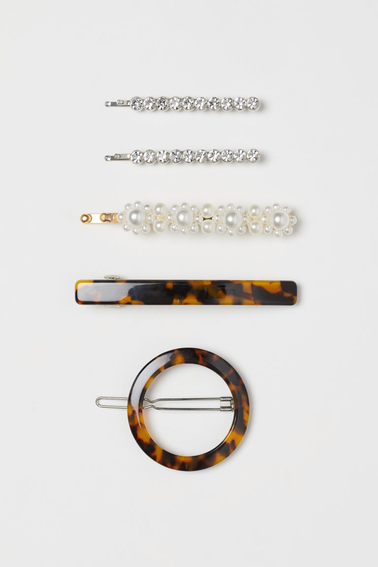 5-pack Hair Clips - Silver-color/tortoise pattern - Ladies | H&M US