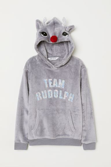 Pile hooded top - Grey/Team Rudolph - Kids | H&M