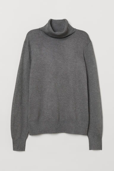 Fine-knit polo-neck jumper - Grey marl - Ladies | H&M