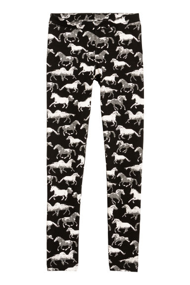 Printed jersey leggings - Black/Horses - Kids | H&M CN