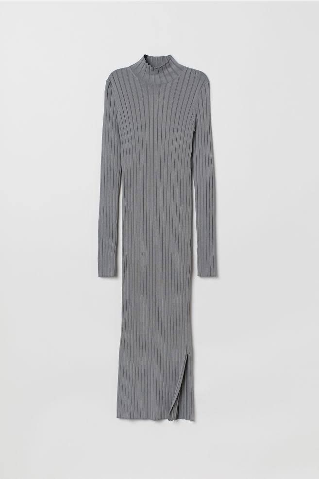 8a0cd5a7181892 ... Ribgebreide jurk - Grijs - DAMES