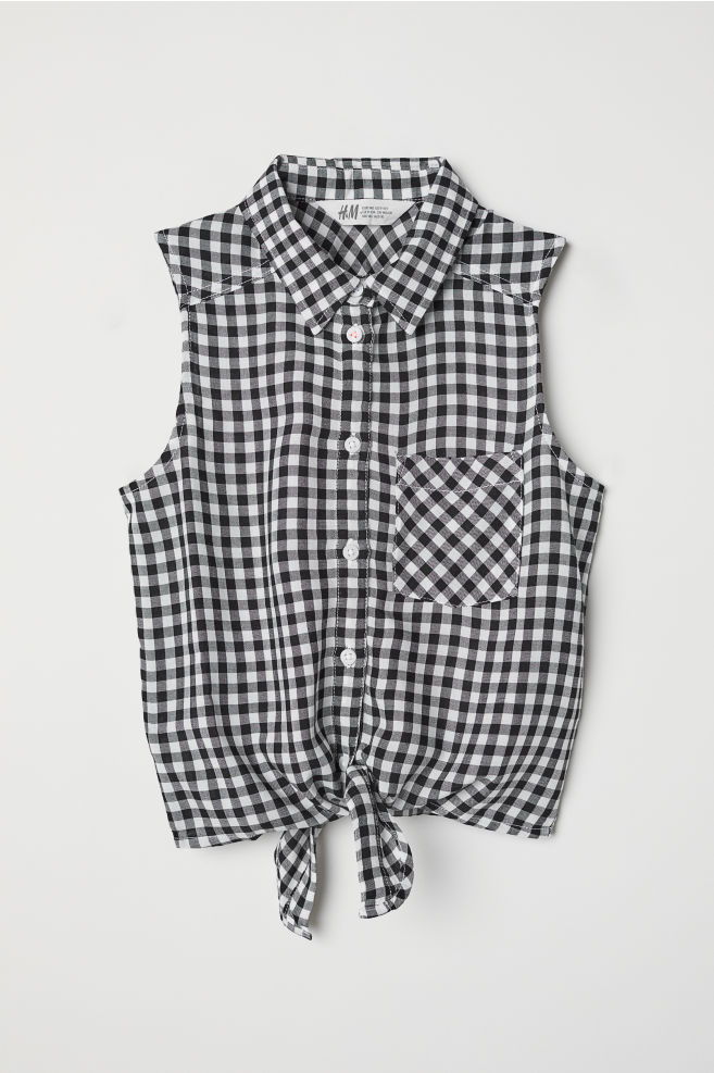 bb334827afb7a Sleeveless tie-front blouse - Black Checked - Kids