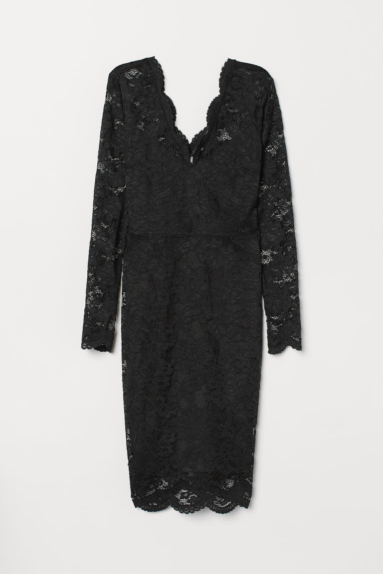 Lace V-neck dress - Black - Ladies | H&M CN