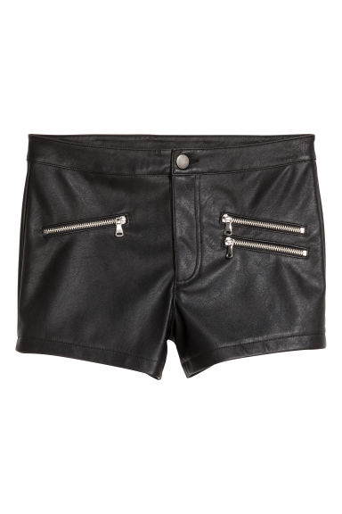 Imitation leather shorts - Black - Ladies | H&M GB