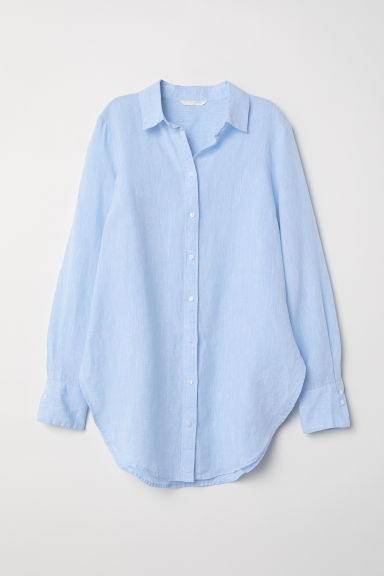 Linen shirt - Light blue marl -  | H&M CN