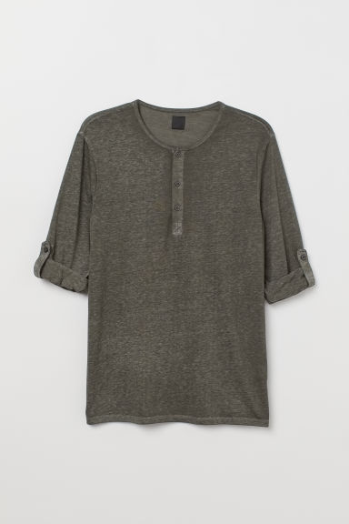Slub jersey Henley shirt - Green/Grey marl - Men | H&M