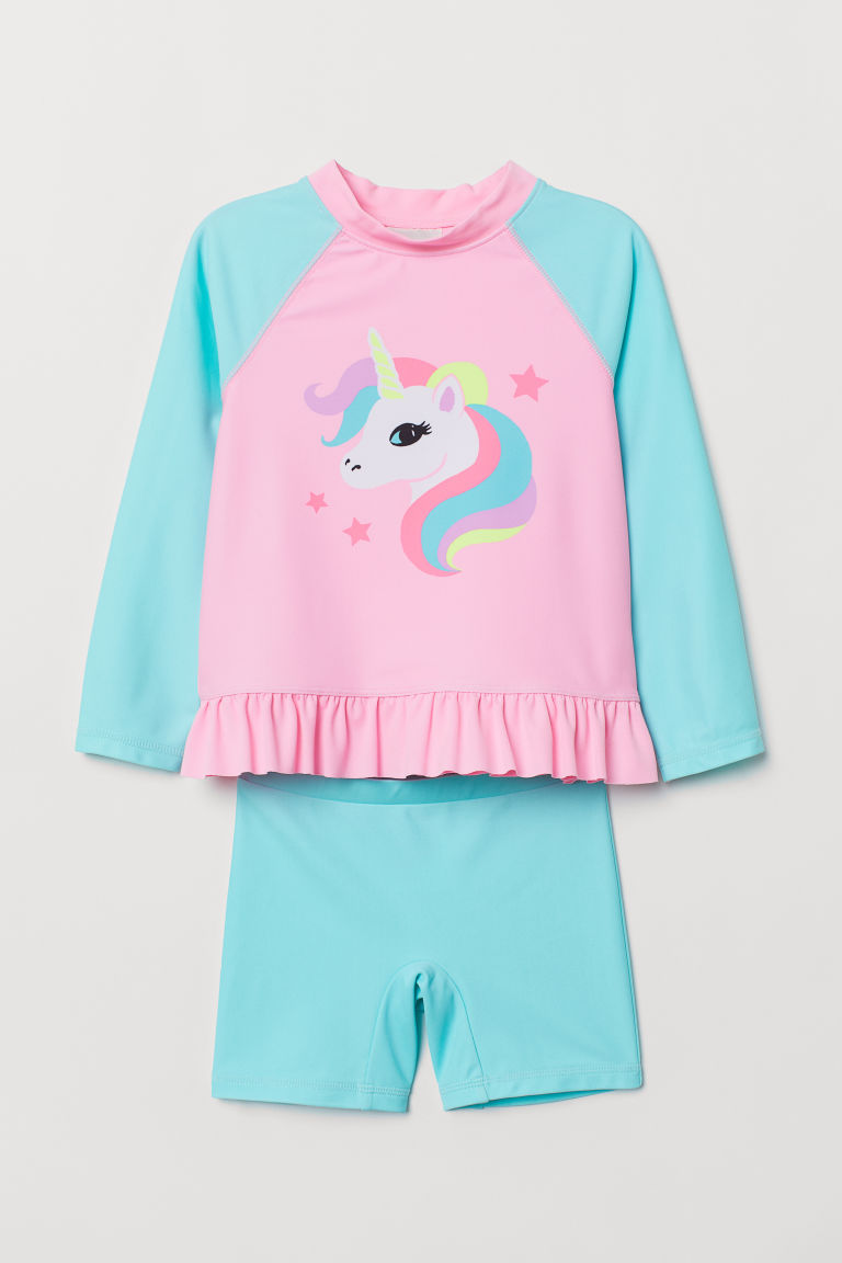 Swim set with UPF 50 - Light pink/Unicorn - Kids | H&M CN