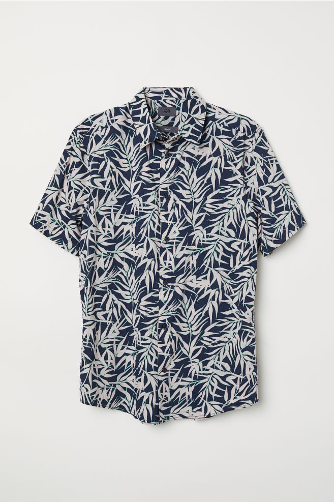 Camisa estampada Slim fit - Azul oscuro Estampado - HOMBRE  1f2d7736005