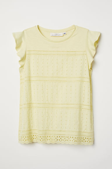Embroidered top - Light yellow - Ladies | H&M