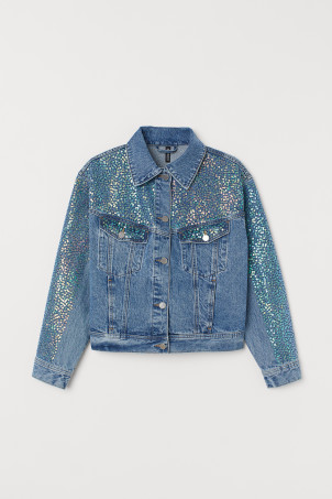 Denim jacket with sequins