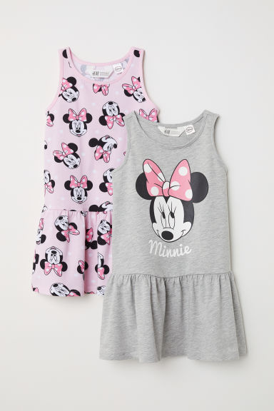 2-pack jersey dresses - Grey marl/Minnie Mouse - Kids | H&M
