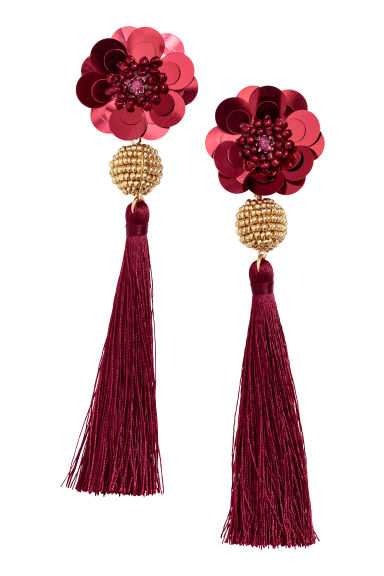 Long earrings - Dark red - Ladies | H&M GB