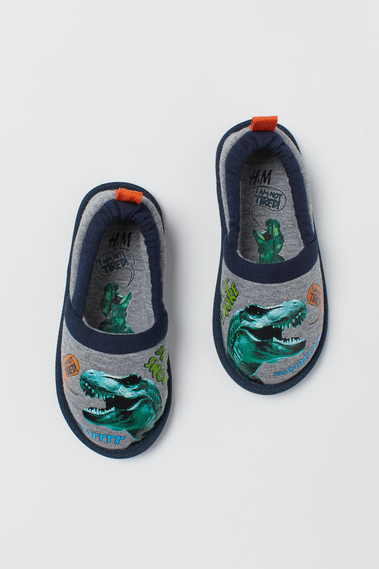 Soft slippers - Grey marl/Dinosaur - Kids | H&M