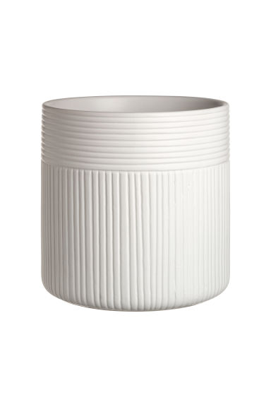 Large ceramic plant pot - Natural white - Home All | H&M CN