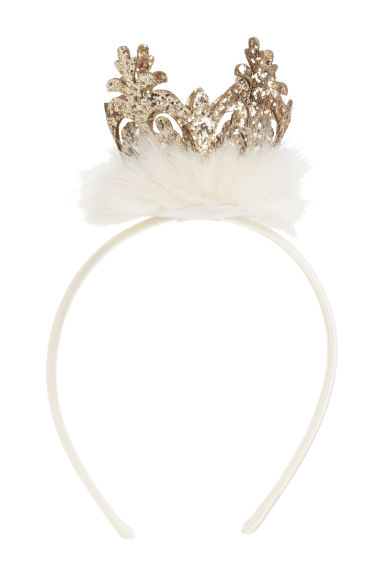 Alice band with a crown - White -  | H&M