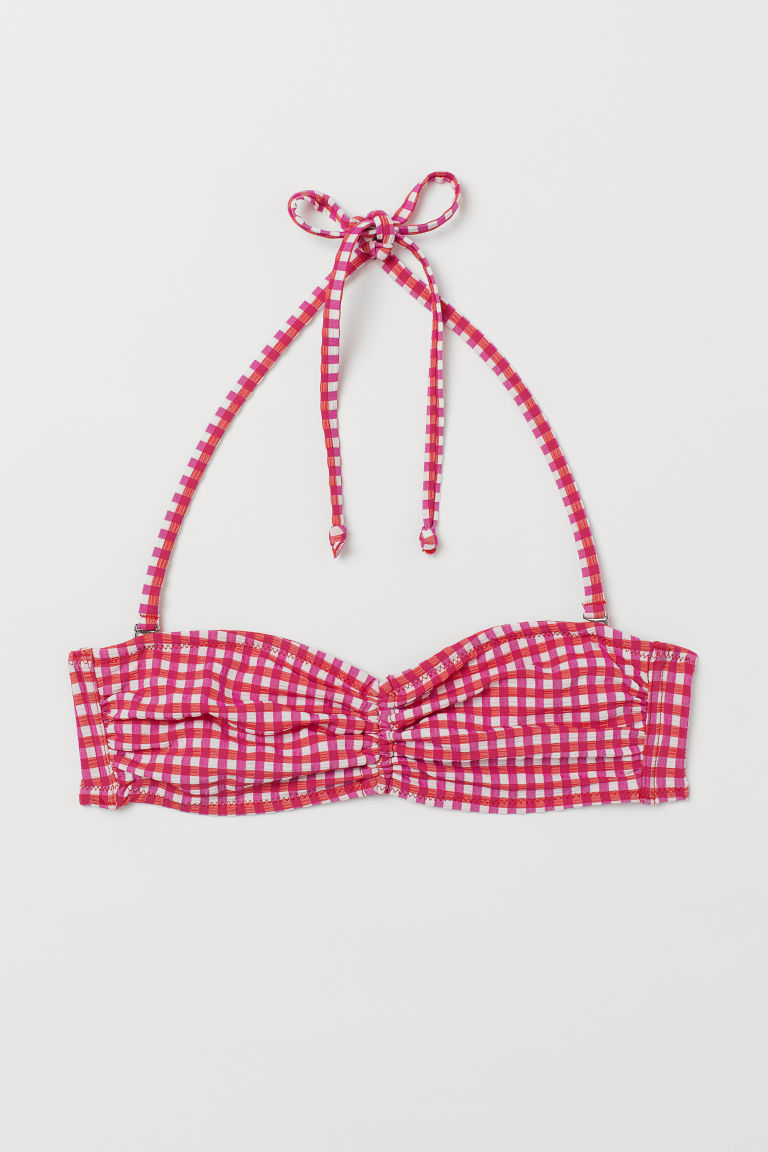 Bandeau Bikini Top - Dark pink/red checked -  | H&M US