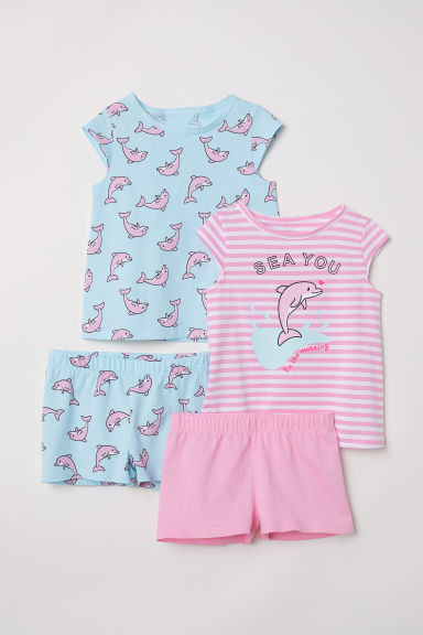 2-pack cotton pyjamas - Pink/Dolphins - Kids | H&M
