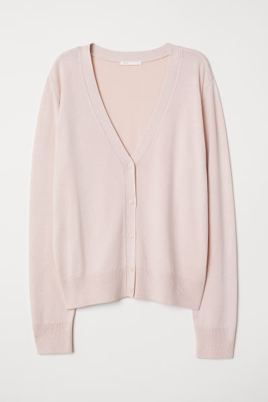 Fine-knit cardigan - Powder pink - Ladies | H&M CN