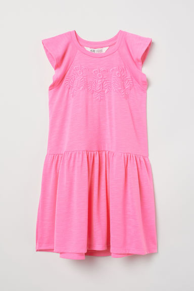 Jersey dress with embroidery - Neon pink - Kids | H&M CN