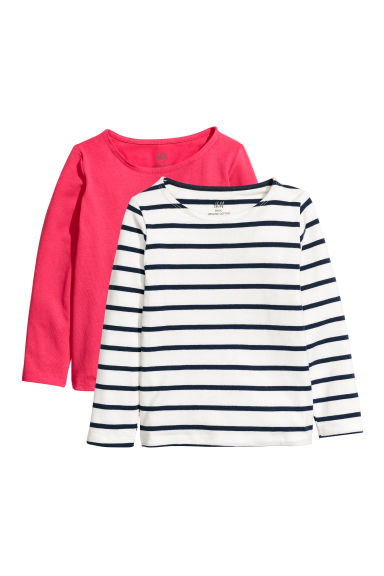 2-pack jersey tops - White/Blue striped - Kids | H&M