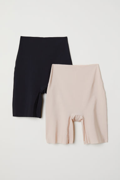 Set van 2 light shaping shorts - Zwart/lichtbeige - DAMES | H&M NL