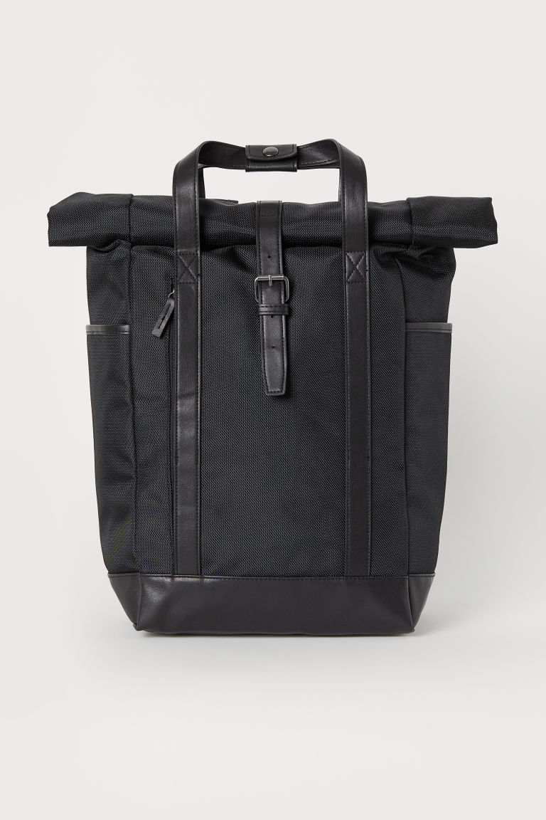 Roll-top opening back pack - Black - Men | H&M