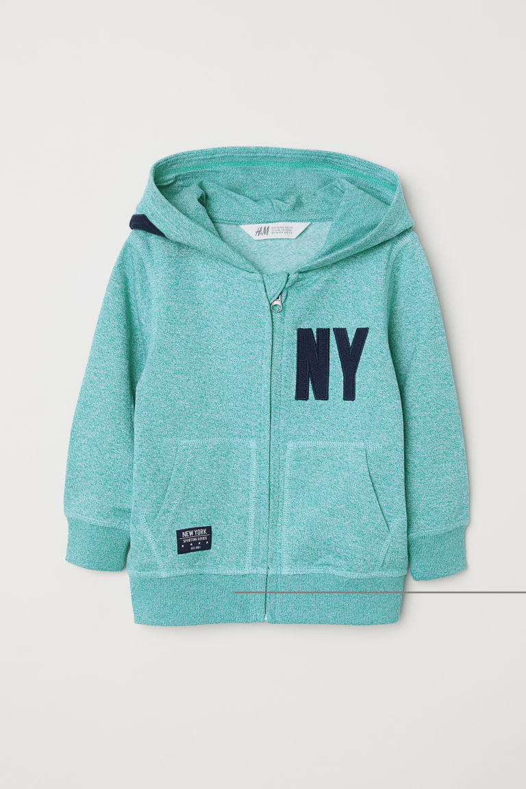 Hooded jacket with a motif - Green marl - Kids | H&M