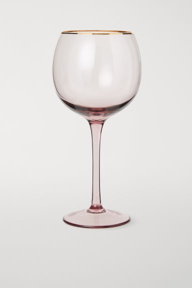 Glass with gold-coloured rim - Dusky pink - Home All | H&M GB